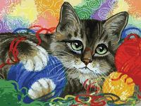 "Картина по номерам ""Котик с клубочками"" (400х300 мм)"