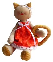 """Набор для шитья из ткани """"Кошечка в платье"""""""