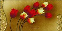 "Вышивка крестом ""Тюльпаны на золотом"" (690х380 мм)"