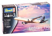 """Сборная модель """"Самолет Embraer 190 Lufthansa """"New Livery"""" (масштаб: 1/144)"""
