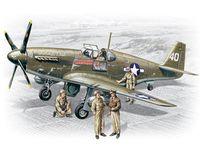 """Американский истребитель """"Мустанг Р-51 В"""" с пилотами и техниками (масштаб: 1/48)"""