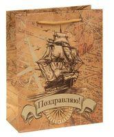 """Пакет бумажный подарочный """"Корабль"""" (14х11х6 см; арт. 10772305)"""