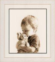 """Вышивка крестом """"Мальчик с котёнком"""" (190x260 мм)"""