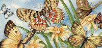 """Вышивка крестом """"Виньетка с бабочками"""" (200х100 мм)"""