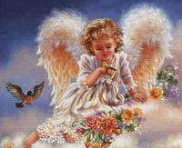"""Вышивка крестом """"Ангел с птичками"""""""