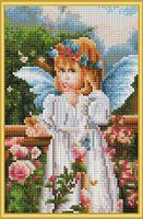 """Алмазная вышивка-мозаика """"Ангелочек в саду"""" (220х320 мм)"""