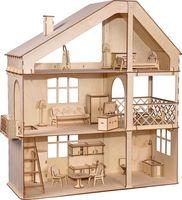 """Сборная деревянная модель """"Гранд коттедж с верандой и мебелью"""""""