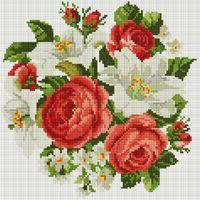 """Алмазная вышивка-мозаика """"Розы и лилии"""" (300х300 мм)"""