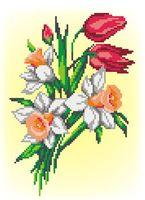 """Вышивка крестом """"Букет нарциссов и тюльпанов"""""""