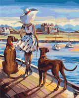 "Картина по номерам ""Триш Биддл. Прогулка на закате в Каннах"" (400х500 мм)"