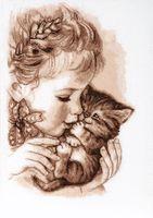 """Вышивка крестом """"Любимый котёнок"""" (230х240 мм)"""