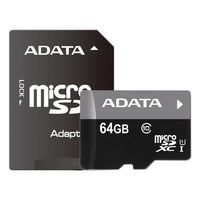 Карта памяти A-Data Premier microSDXC UHS-I U1 Class 10 64GB (AUSDX64GUICL10-RA1) + SD адаптер