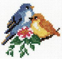 """Вышивка крестом """"Птички"""" (100х100 мм)"""