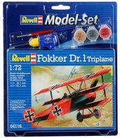 "Сборная модель ""Немецкий самолет Fokker Dr.1 Triplane"" (масштаб: 1/72)"