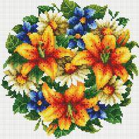 """Алмазная вышивка-мозаика """"Букет с тигровыми лилиями"""" (300х300 мм)"""
