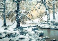 """Вышивка крестом """"Волки возле зимнего ручья"""" (620х440 мм)"""