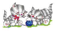 """Вышивка крестом """"Два котенка с клубком"""""""