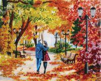 """Вышивка бисером """"Осенний парк, скамейка, двое"""" (240х300 мм)"""