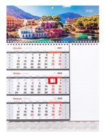 """Календарь квартальный настенный с блоком для заметок на 2022 год """"Mono. Солнечное побережье"""" (29,5x41 см)"""