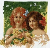 """Вышивка крестом """"Девочки с розами"""""""