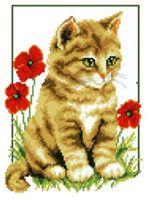 """Вышивка крестом """"Котенок и маки"""""""