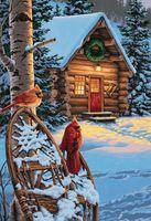 """Картина по номерам """"Кардиналы и хижина"""" (410x510мм; арт. 91397-DMS)"""