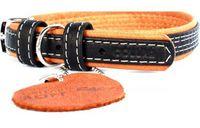 """Ошейник из натуральной кожи """"Collar Soft"""" с украшениями (57-71 см; черный верх; арт. 7216)"""