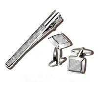 Набор. Заколка для галстука, запонки (цвет: серебристый, со светлыми вставками, EG-7671)