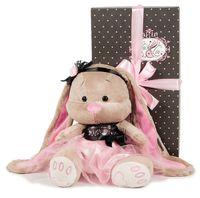 """Мягкая игрушка """"Зайка в розово-черном платьице"""" (25 см)"""