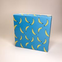 "Подарочная коробка ""Бананы на голубом"" (16х16x7,5 см)"