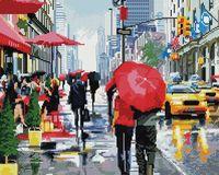 """Алмазная вышивка-мозаика """"Дождь в Нью-Йорке"""" (400х500 мм)"""