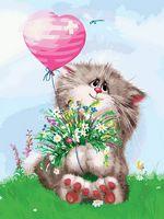 """Картина по номерам """"Кот с букетом"""" (300х400 мм)"""