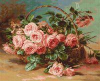 """Вышивка крестом """"Корзина с розами"""" (425х340 мм)"""