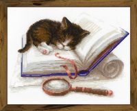 "Вышивка крестом ""Котенок на книжке"" (300х240 мм)"