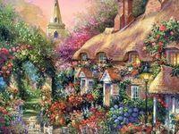 """Вышивка бисером """"Цветочный городок"""" (230х300 мм)"""