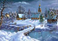 """Алмазная вышивка-мозаика """"Зима в деревне"""""""