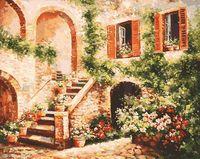 "Картина по номерам ""Цветущий дворик"" (400х500 мм)"