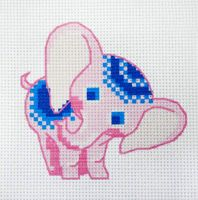 """Вышивка крестом """"Розовый слонёнок"""" (190х190 мм)"""