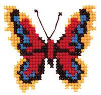 """Вышивка крестом """"Бабочка красно-жёлтая"""" (70х75 мм)"""