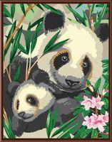 """Картина по номерам """"Панда с малышом"""" (400х500 мм)"""