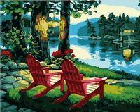 """Картина по номерам """"Рассвет на реке"""" (400х500 мм)"""