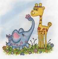 """Вышивка крестом """"Жираф и слоник"""""""