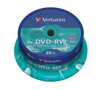 Диск DVD-RW 4.7Gb 4x Verbatim CakeBox 25