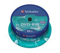 Диск DVD-RW 4.7Gb 4x Verbatim CakeBox 25