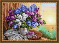"""Алмазная вышивка-мозаика """"Сирень у окна"""" (700х500 мм)"""