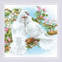 "Вышивка крестом ""Белые голуби"" (250х250 мм)"