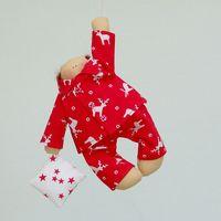 """Кукла ручной работы """"Сплюш"""" (в красной пижаме с оленями)"""