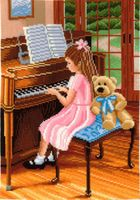 """Вышивка крестом """"Пианистка"""""""