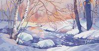 """Вышивка крестом """"Зимний пейзаж"""" (265х510 мм)"""