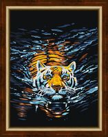 "Алмазная вышивка-мозаика ""Плывущий тигр"" (300х400 мм)"